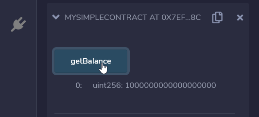 Contract balance after deploy with 1 ether value.