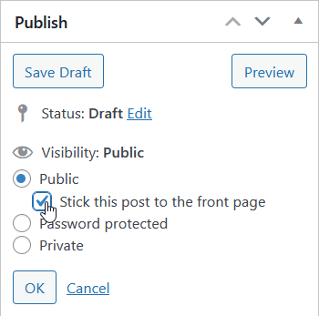 Publish 'Stick this post to the front page' option in post classic editor in WordPress