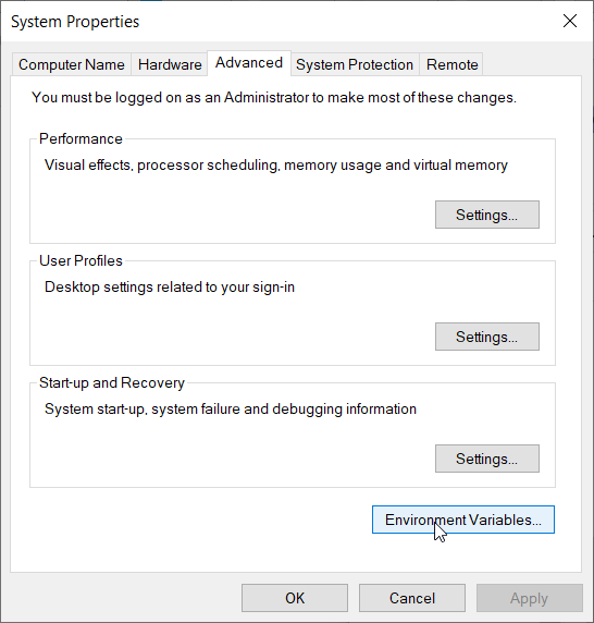 Windoes - System Properties windows - selecting Environment Variables button