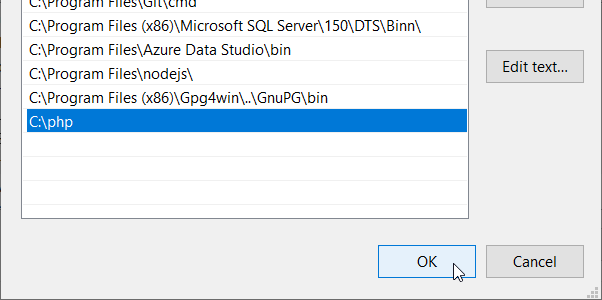 Windows - Edit path system environment variables - Adding path to PHP folder