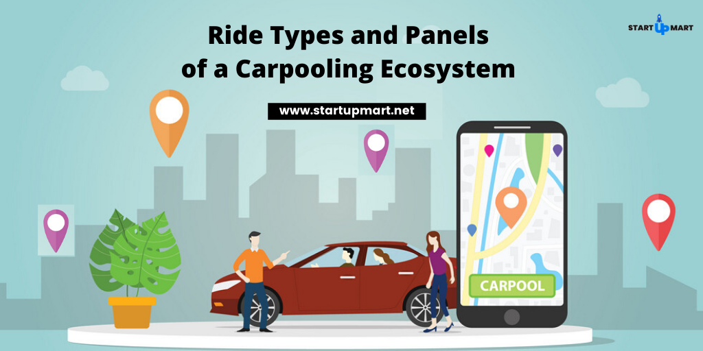 What are the Ride Types and Panels that a Carpooling Ecosystem Must Have?
