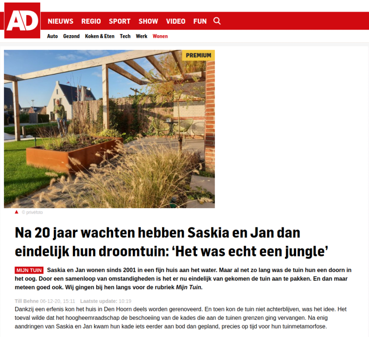 Artikel over MQM Tuinontwerpen in Algemeen Dagblad
