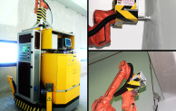 Image: PictoBot scans the interior space with an optical camera and laser to navigate, while painting walls up to 10m high with its robotic arm (NTU)