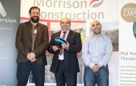 Image: (l-r) Animmersion operations director, Sam Harrison; Morrison Construction Scottish Water Operations Director, Stephen Slessor; and University of the West of Scotland senior lecturer in construction engineering, Mohamed Abdel-Wahab
