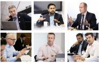 Clockwise from top left: David Philp (CDBB); Senthil Arjunan (Interserve); Garry Fannon (Willmott Dixon); Alex Jones (Murphy) with Senthil Arjunan (Interserve); Andy Boutle (Kier); Terry Stocks (CDBB)