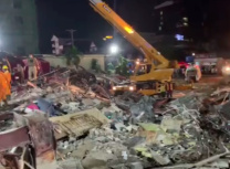 The death toll hit 25 today as rescue crews continued clearing debris (From a video posted on the Facebook page of Yun Min, Governor of Preah Sihanouk province)