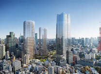 The highest of the three towers, at 330m, is set to become Japan's tallest building (Mori Building)