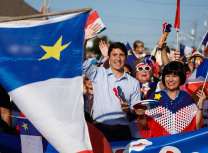 Prime Minister Justin Trudeau yesterday at the 25th Congrès mondial acadien in Moncton, New Brunswick (From the Prime Minister's twitter account)