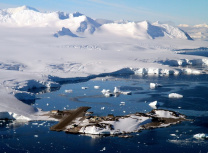 Aerial view of British Antarctic Survey research station at Rothera (BAS)