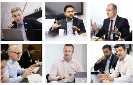 Clockwise from top left: David Philp (CDBB); Senthil Arjunan (Interserve); Garry Fannon (Willmott Dixon); Alex Jones (Murphy) with Senthil Arjunan (Interserve); Andy Boutle (Kier); Terry Stocks (CDBB)