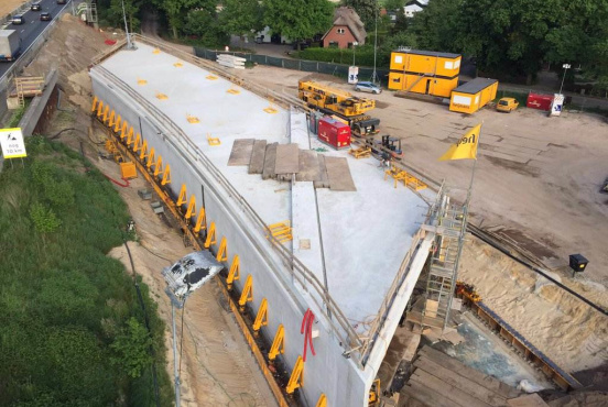 The prefabricated A12 tunnel in place (Heijmans)