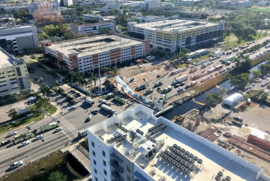Aerial view of the accident site soon after the bridge collapsed (Miami-Dade Police aviation unit via Twitter)