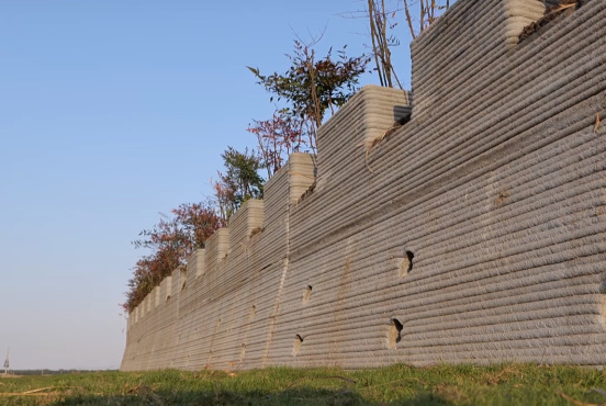 The wall comes with built in planters (WinSun)