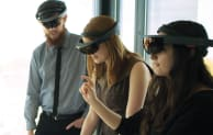 Using MicroSoft HoloLens mixed-reality headsets, Aecom team members can explore holograms of 3D models