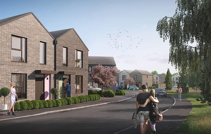 A CGI of BoKlok's modular housing concept
