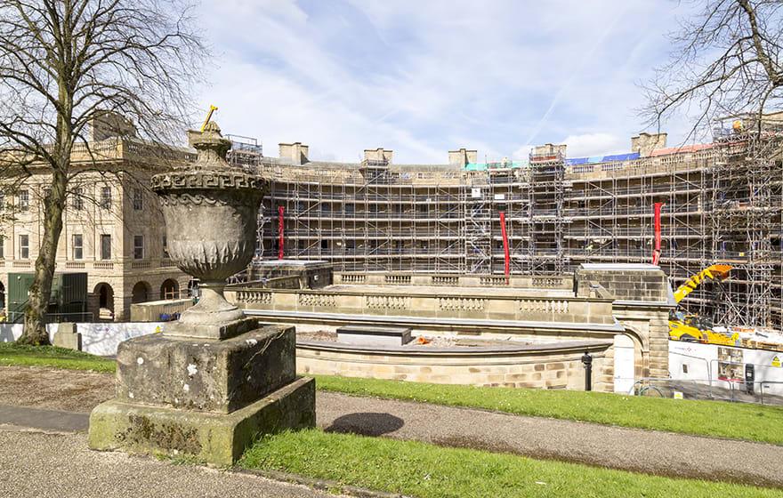 Vinci Construction's £50m redevelopment of the Georgian Buxton Crescent in Derbyshire