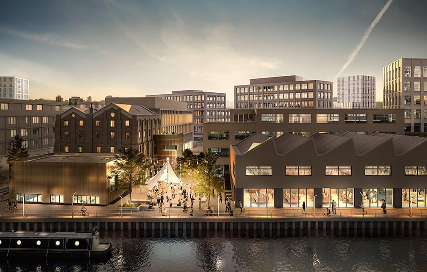 Image: Dane's Yard CGI at Sugar House Island development in London (Sugarhouseisland.com)