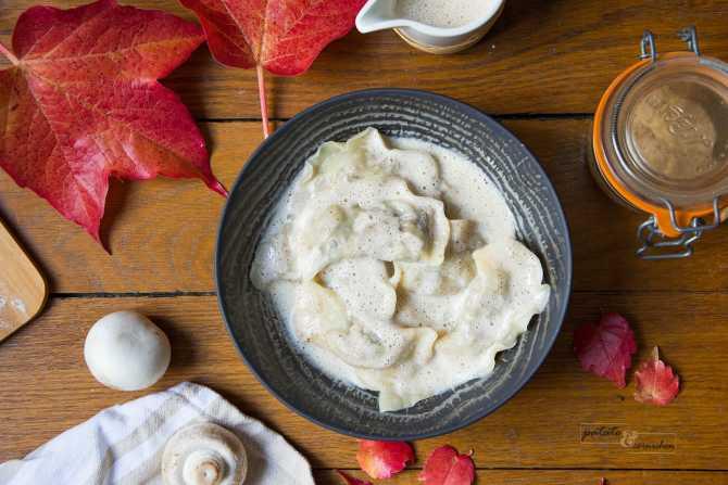 Ravioles vegan aux champignons et châtaignes, sauce noisette