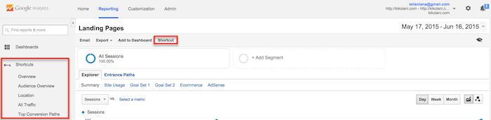Visualizar relatórios no Google Analytics