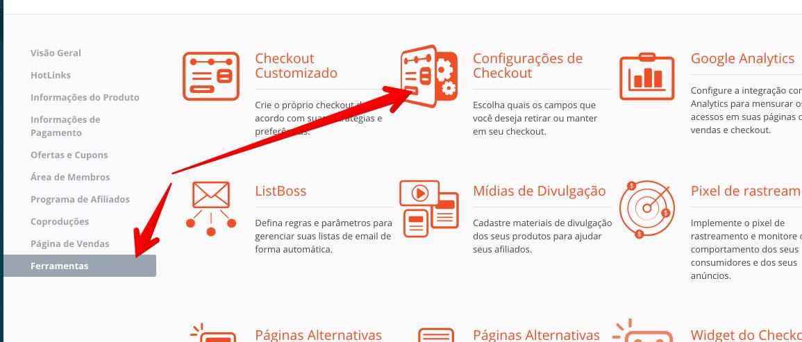 configurações do checkout