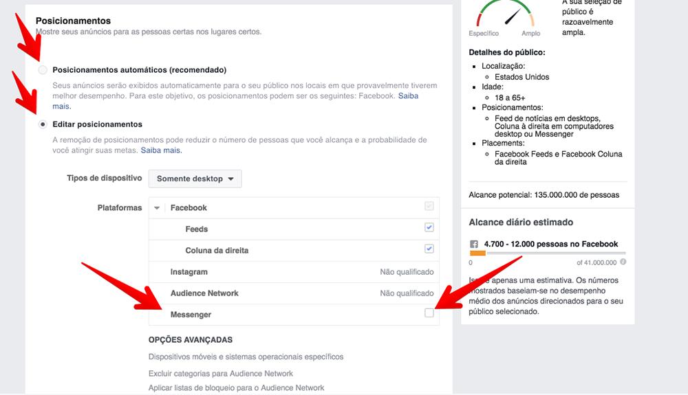 Editar posicionamentos Facebook