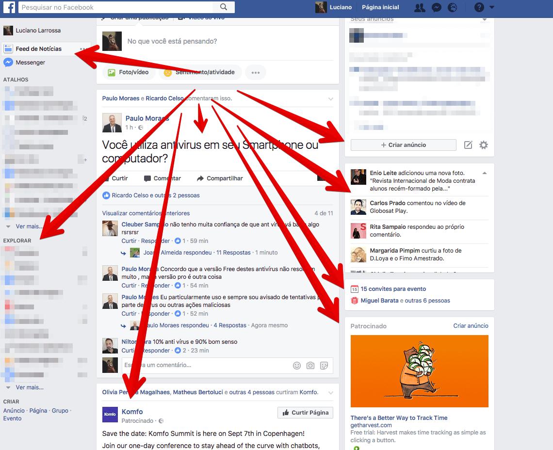 Varios focos no Facebook
