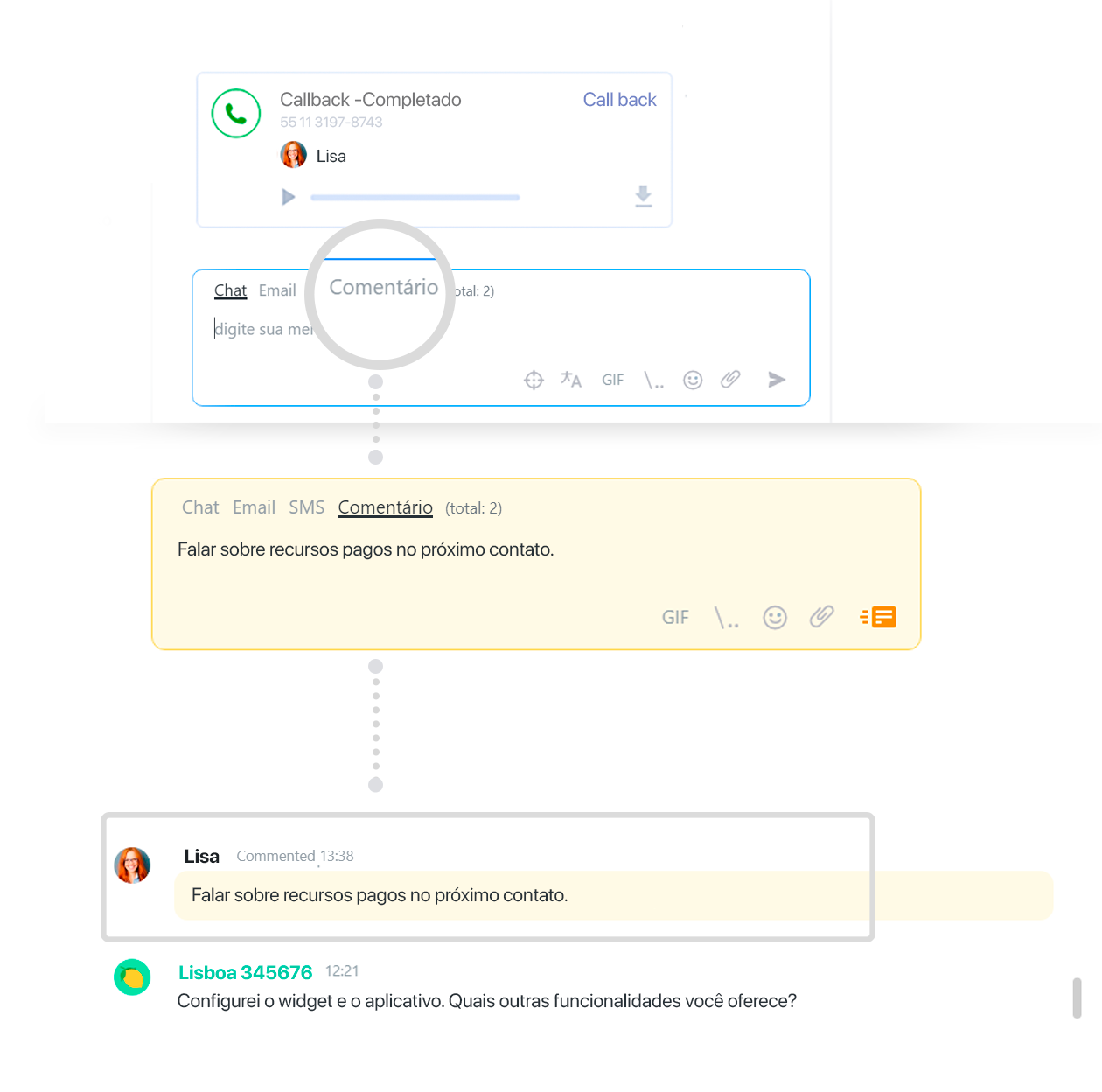 Funções de CRM do JivoChat
