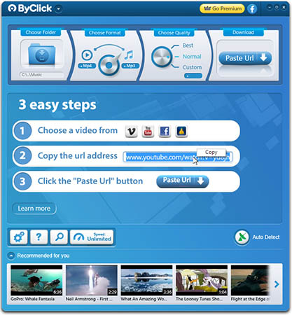 Captura de tela do programa para baixar música ByClick Downloader