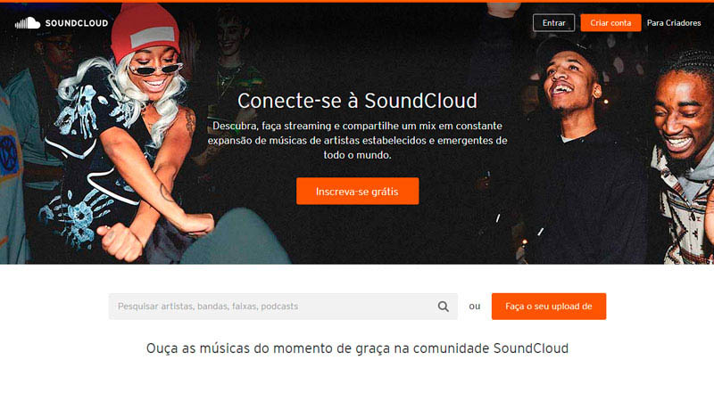 Captura de tela do site para baixar música Soundcloud com o texto