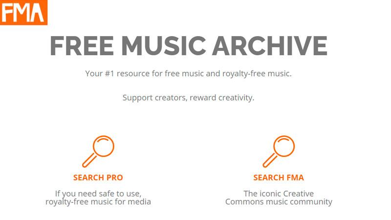 Captura de tela do programa para baixar música Free Music Archive