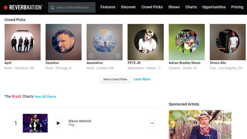 Captura de tela do site para baixar música ReverbNation