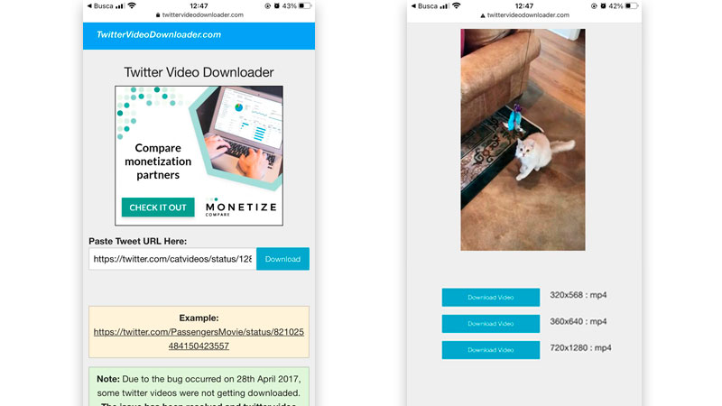 Interface do Twitter video Downloader