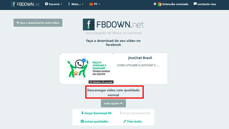 Captura de tela de como baixar vídeo do Facebook usando o FBDown