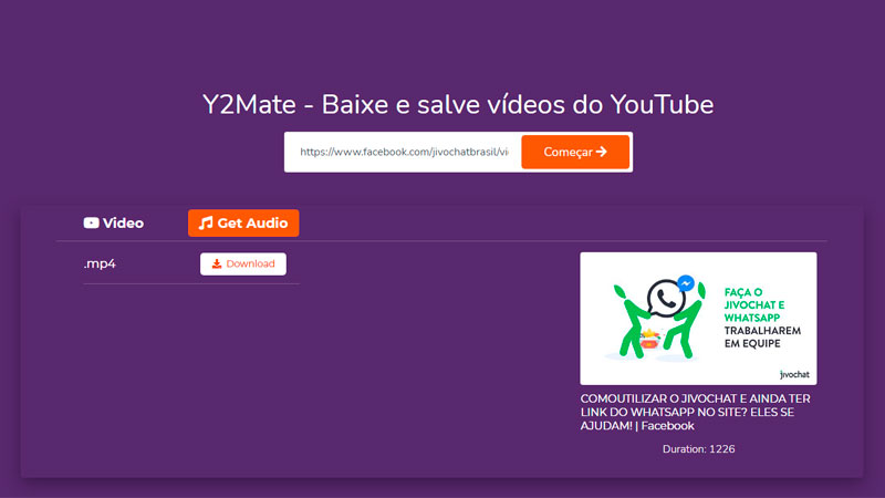 Captura de tela de como baixar vídeo do Facebook usando o Y2Mate