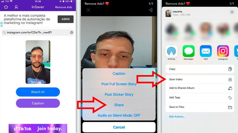 Tutorial de três telas indicando como usar o InSaver para baixar vídeos do Instagram