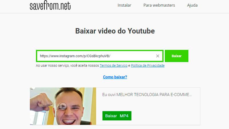 Captura de tela do SaveFrom.Net