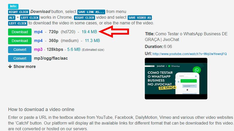 Bajar vídeo con Catchvideo, paso 2