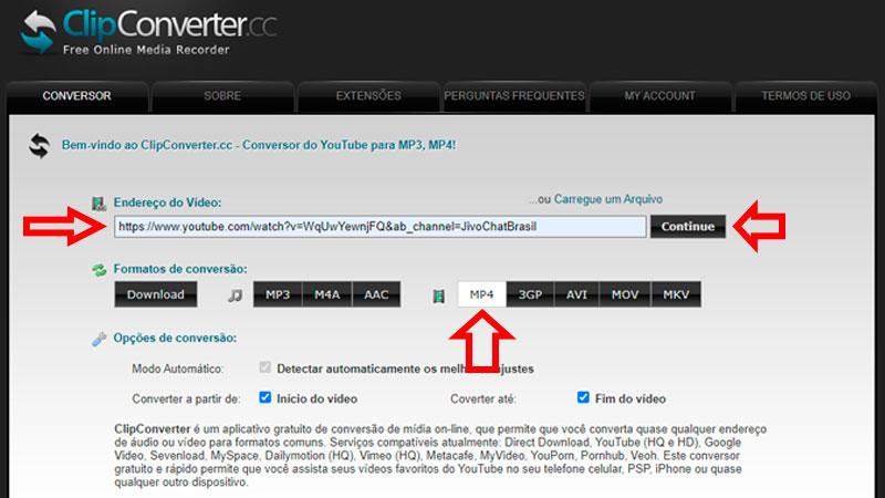 Bajar vídeo con ClipConverter, paso 1