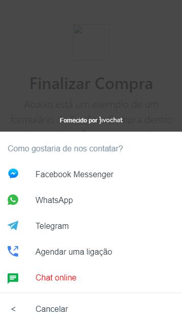 Exemplo do botão WhatsApp no JivoChat
