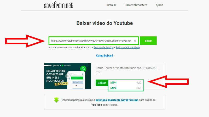 Guia ensinando como baixar vídeos com o SaveFromNet