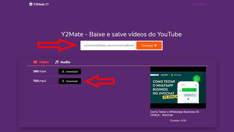 Interface do Y2Mate com setas indicando como usar a ferramenta para baixar vídeos online
