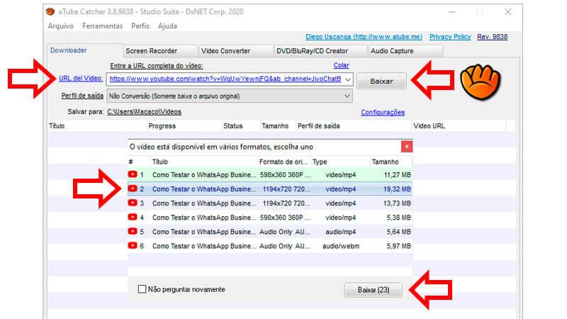 Foto da tela do aTube Catcher com setas indicando onde clicar para baixar vídeos