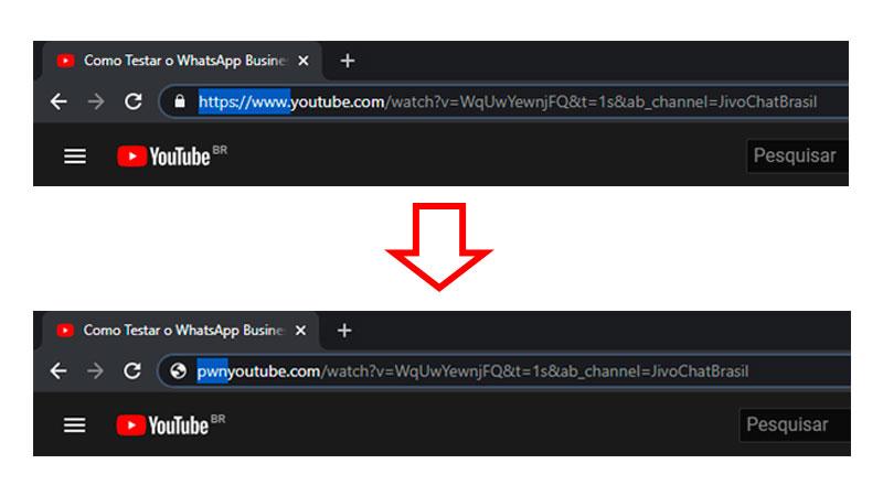 Removendo o texto https://www. da url de um vídeo do YouTube e o substituindo por pwn