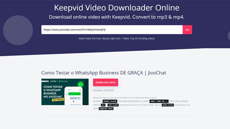Tela para fazer download youtube do Keepvid