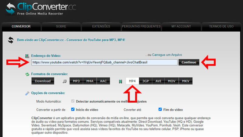 ClipConverter, guia de download, passo 1