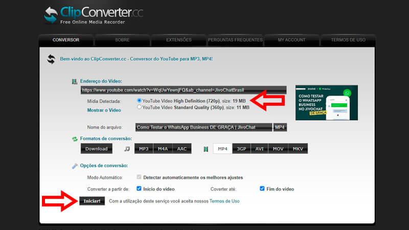 ClipConverter, guia de download, passo 2