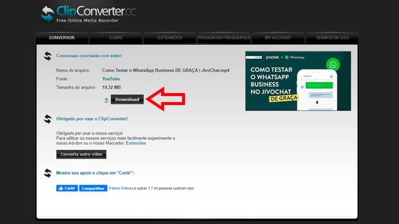 ClipConverter, guia de download, passo 3