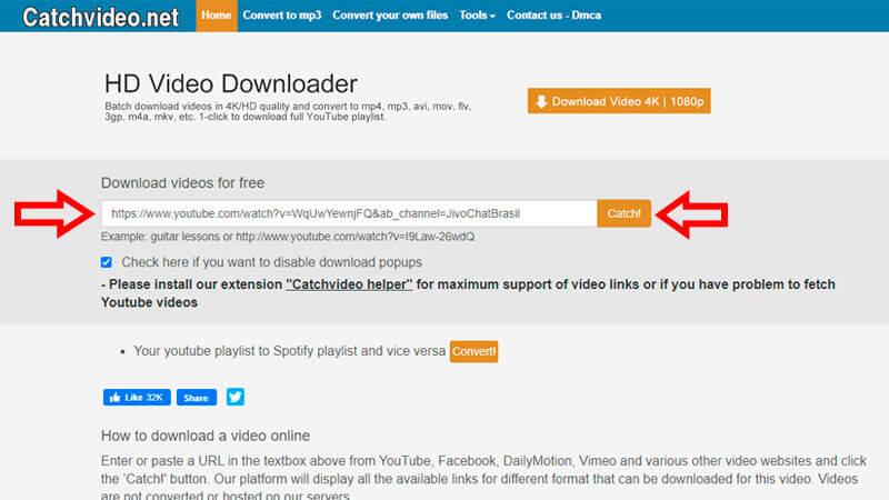 Catchvideo, guia de download, passo 1