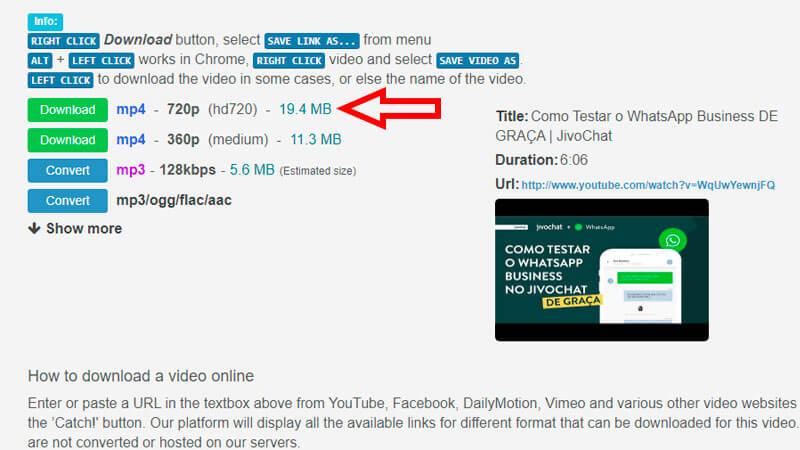 Catchvideo, guia de download, passo 2