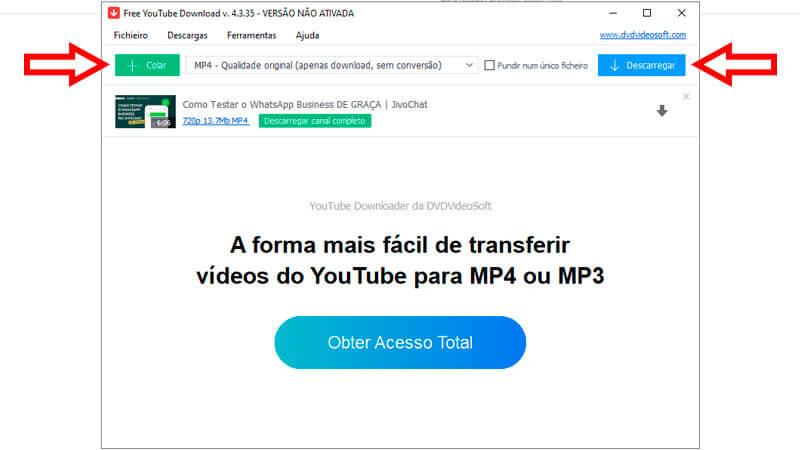 Captura de tela do Free YouTube Download ensinando como baixar vídeos com a ferramenta